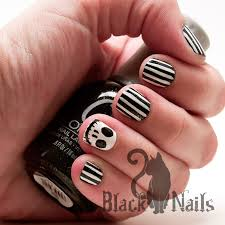 jack skeleton black and white striped nail art black cat nails