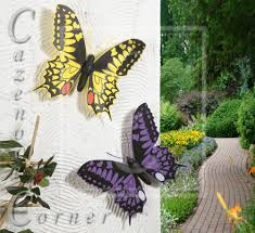 2 set butterfly wall decoration garden ornaments wall fence tree