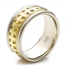 gold band ring men s two tone gold and diamond wedding band 100146
