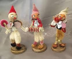 3 vintage christmas japan elves chenille pipe cleaner ornaments