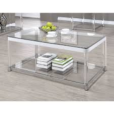 coaster 720748 coffee table in chrome clear acrylic local