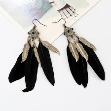 black feather earrings black feather drop earrings shop imitation jewellery online