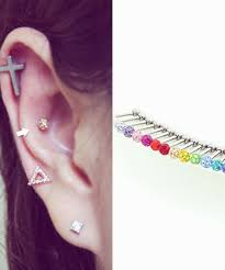 bar earring cartilage 16g 3mm 4mm cubic glass barbell ear piercing stud ferido
