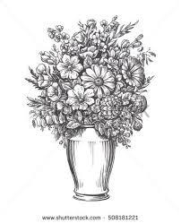 Drawings Of Flowers In A Vase Vintage Vase Flowers Hand Drawn Sketch Stock Illustration