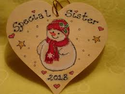 special sister brother uncle auntie any name snowman wooden heart