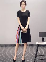 color block patchwork short sleeve round neck casual dress color