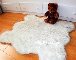 Polar Bear Fur Rug Luxury Gray Sheepskin Faux Fur Rug Living Room Rug Elegant