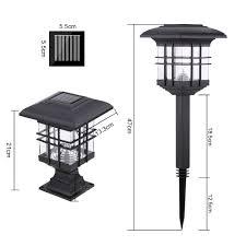 solar powered pillar lights 0 2 w 2 pack solar powered led garden yard bollard pillar light lawn