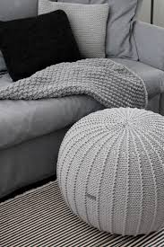 large light grey floorpouf knitted pouf knit pouf