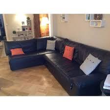 canapé d angle 6 places canape d angle 6 places en cuir noir steiner achat et vente