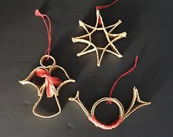 vintage swedish straw ornaments scandinavian
