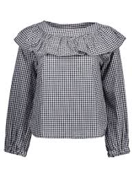 black ruffle blouse gingham check ruffle blouse white and black blouses s zaful
