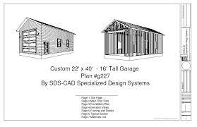 Plans Rv Garage Plans by G227 22 X 40 U2013 16 U2032 Rv Garage Plan Blueprints Rv Garage Plans