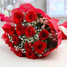 Red Rose Bouquet Loveable Twelve Red Roses Bouquet With Tissue Wrapping Buy