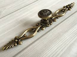 cabinet handles with backplate 6 3 large drawer pulls handles antique bronze sunflower rustic