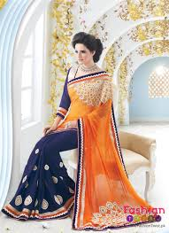 orange and blue combination latest pakistani u0026 indian design bridal sarees in blue