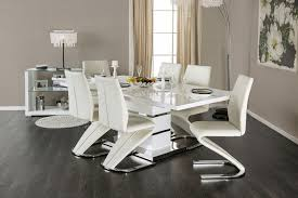 7 pc dining room set midvale contemporary style white high gloss lacquer finish chrome