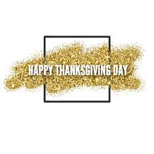 happy thanksgiving day greeting card with gold glitter and