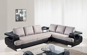 U Sectional Sofas by U7208 Sectional Sofa In Grey Fabric Black Pu By Global Furniture