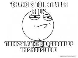 Toilet Paper Roll Meme - changes toilet paper roll thinks i am the backbone of this