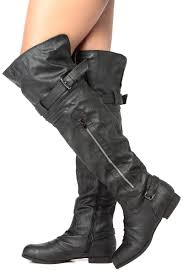 ladies biker style boots black faux leather over the knee biker boots cicihot boots