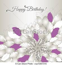 vector clip art of birthday card with pink flowers happy