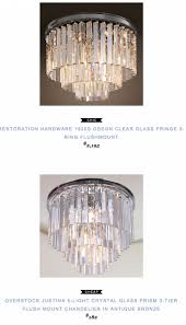 restoration hardware 1920s odeon clear glass fringe 3 ring 3 tier crystal chandelier