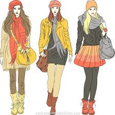 How To Draw Fashion Designs Female Winter Fashion Illustration Sketch The Rainbow