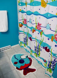 bathroom funny fish themed bathroom decor sets for kids with mat