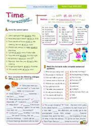 english worksheet time expressions at on in basic rules for