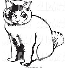 clip art of a cute sitting cat by david rey 505