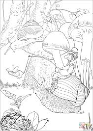 leprechaun on a long journey riding a snail coloring page free
