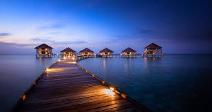 beautiful bungalows beaches walkway sunrise sea maldives beach tropical paradise