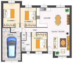 plan de maison 3 chambres salon plan de maison 120m2