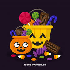 background of halloween candy bags vector free download