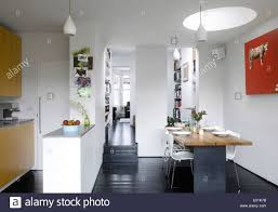 open plan kitchen dining room through study to drawing room at