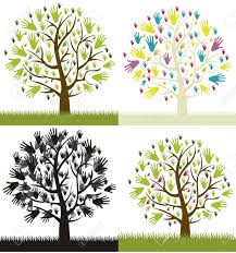 illustration of different types of hands tree vector illustration