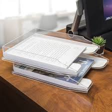 Paper Organizer For Desk Sorbus Letter Tray Modern Acrylic Paper Organizer Clear Desk File