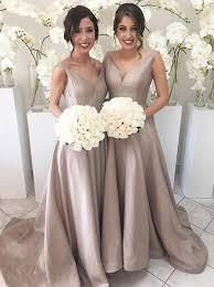 silver bridesmaid dresses buy simple v neck sleeveless hi low sweep silver bridesmaid