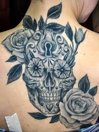 dia de los muertos sugar skull tattoo on neck back photos