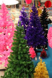 paperchase christmas trees in green and pink purple gold