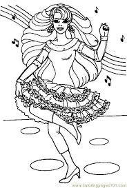 dancing barbie coloring free barbie coloring pages