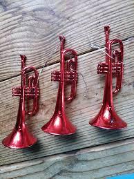 3 gold plastic vintage trumpet ornaments mixed media
