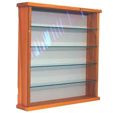 exhibit solid wood 4 shelf glass wall display cabinet pine