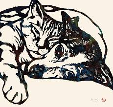 dog love with cat stylised pop art sketch poster drawing by kim wang