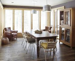 mismatched table and chairs dining room rustic with leather