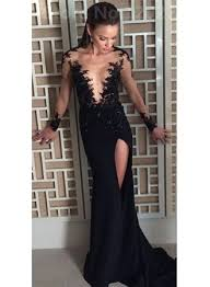 Black Homecoming Dresses With Sleeves 2017 Black Prom Dresses Long Sleeve Sheer Tulle Evening Gowns