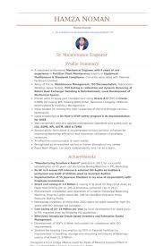Horizontal Resume Maintenance Engineer Resume Samples Visualcv Resume Samples Database