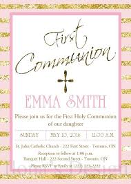 communion invitations for girl pink and gold communion invitation girl communion invite