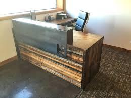 Wood Reception Desk Desks H2 Design Build Custom Receptionist Desk With Steel And